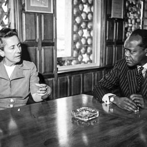 Charles Njonjo holds talks with Helen Suzman.