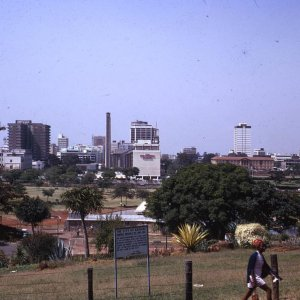 A panorama of Nairobi's skyline as taken from Uhuru Park in 1973